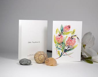 Protea Flower Card Protea Watercolor Paper Card Floral Card Illustration Australian Protea Flower Card Protea Watercolor Greeting Card