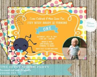 Itsy Bitsy Spider Birthday Invitation for Boy 1st Birthday First Birthday Invites Digital Printable
