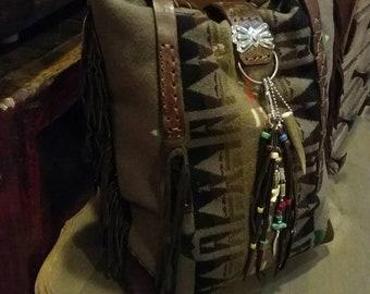 Vintage Pendleton Fringed Shoulder Bag / Purse