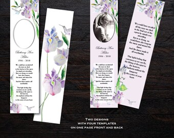 Hummingbird & Iris | Funeral Bookmark Template | Memorial Bookmark | Memorial Keepsake | Printable Bookmark Template | Microsoft Word