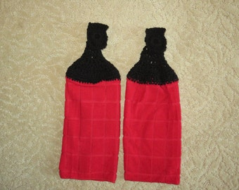 Crocheted Topped Hanging Kitchen Towels:  Red Microfiber towels- with black red toppers-Gift Idea