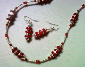 Candy Apple Red and SIlver Necklace and Earrings (0748)