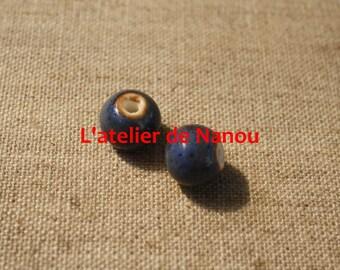 ceramic bead handmade ultramarine blue 10 mm