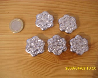 set of 10 large faux silver metal beads