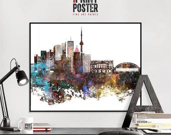 Toronto art print, Toronto poster, Toronto skyline art, Toronto distressed wall art, travel decor, home decor, iPrintPoster
