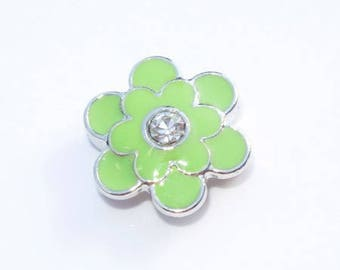 Green leather bracelet flower shaped bead