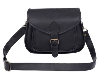 Black Leather Saddle Bag - Small Cross Body Bag by MAHI Leather