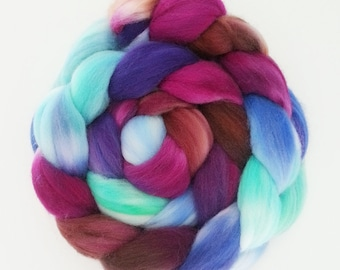 "Hand Dyed Eco Sock Blend Roving--4 oz 80/20 Organic Merino/Nylon Hand Dyed Combed Top, ""Buja"""