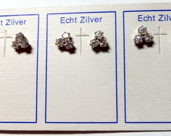 3 Pairs - Sterling Silver ear Studs Set With Sparkling Cubic Zirconias