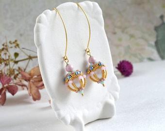 Elegant beaded earrings  Birthday  Gift for mom Statement beadwork earrings Swarovski Pearls earrings Wife birthday gift handmade earrings