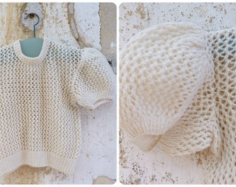 Vintage French 1950/1960 Hand knitted baby  sweater /puffed sleeves /Cream Layette size 2 years