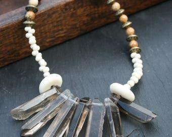 Polished smoky quartz and jasper necklace