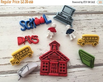 """SALE School Buttons, Packaged Novelty Button Assortment by Buttons Galore, """"School Days"""" Style 4043, Shank Back, Sew Thru, & Flat Embellishm"""