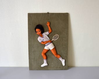 Vintage relief picture / tennis player in 3D / unusual and sporty ornamentation