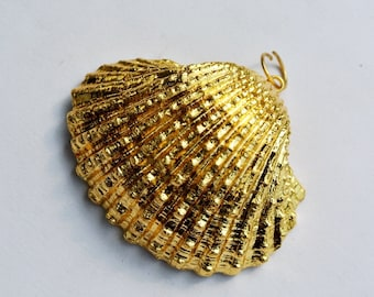 24Kt Gold Electroplated Shell Pendant, 37-45mm Gold Dipped Large Shell Pendant, Gold Layered Seashell Pendant, Jewelry Making