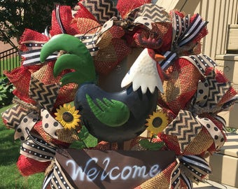 ON SALE~Rooster wreath~Summer Wreath~Burlap Mesh Wreath~Burlap Wreath~front door wreath~rustic decor~farmhouse wreath