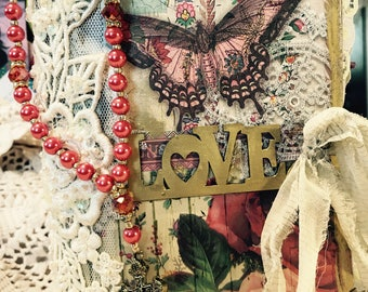"""SALE  Handmade Prayer Journals with a vintage touch and """"Trust Prayer Beads"""". Free Shipping"""