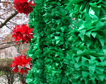 "96 - 12"" CONNECTING PuffScape DIY Tissue Paper Pom Pom Flower Puff Holly Berry Pine Green Holiday Christmas December Wedding Curtain"