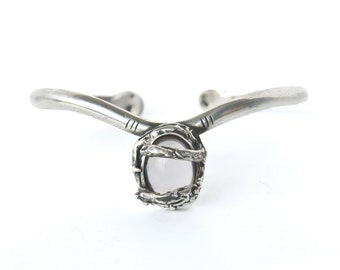 White quartz Antique sterling silver retro vintage style witch cuff - made to order