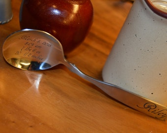 Stainless Steel Engraved Baby Spoon - Birth Announcement Spoon