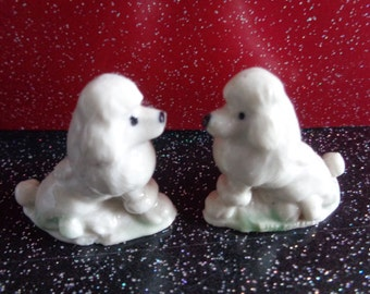 Vintage pair of Wade whimsies Poodles from the Red Rose Tea collection. Wade Collectibles. very Kitsch