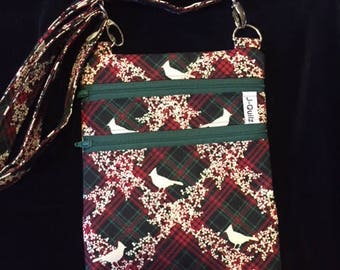 Cross Body Bag - Plaid Cardinal