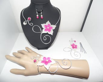 set 4 pieces of ivory silk flower and fuchsia wedding evening Silver Aluminum wire ceremony