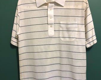 Vintage White Stripped Pocket Polo / Retro Sailor Top/ T Shirt