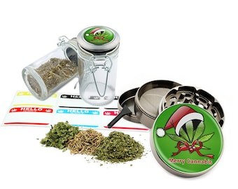 "Merry Leaf - 2.5"" Zinc Alloy Grinder & 75ml Locking Top Glass Jar Combo Gift Set Item # G022015-040"