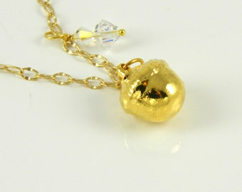 Small Gold Acorn Necklace