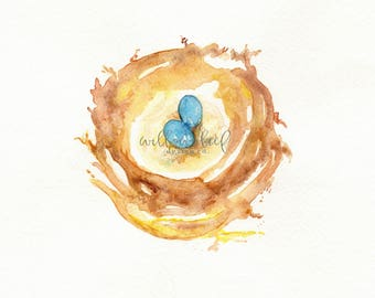 Nest with blue eggs, Watercolor Print, Mother's Day Gift Sale