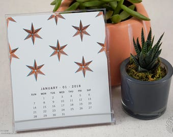 Star 2018 Calendar, Planner, 2018 desk calendar, Calendar with Stand, Modern Calendar, Monthly Calendar, 12 Month Calendar, Geometric