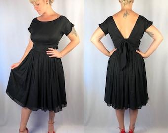 Vintage 1950's Black Circle Dress