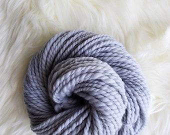 2.3 oz Handspun 2-Ply Merino Wool Yarn, 62 yds Cool Silver