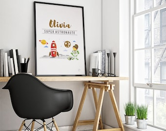Poster trades: Astronaut - customizable - gilding - color-decoration - child - room