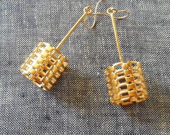 Bricks - 14KT Gold Plated Earrings Using 3D Printing | 3D Printed Earrings | 3D Printed Jewelry | Cast Earrings