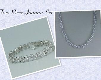 Crystal Necklace SET, Crystal Bridal Necklace, Crystal Bridal Bracelet, Bridal Jewelry, Crystal Wedding Necklace, JOANNA SET