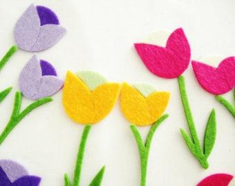 24 Pieces - 6 Set Thick Felt Tulip