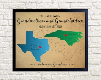 Mother's Day Gift, Grandma Gift, Long Distance Grandma Gift, Personalized Gift for Grandmother, Long Distance Map Mothers Day, Grandchildren