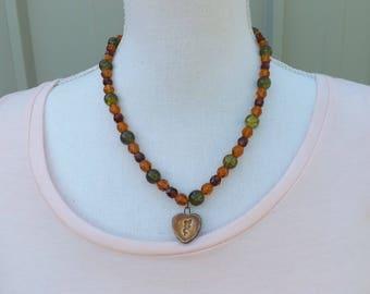 Fee Halskette, Herbst Halskette, Halskette, Perlenkette, Boho Schmuck, Gypsy Halskette, asymmetrische Halskette, Fee Schmuck