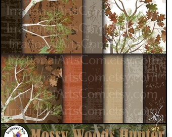 INSTANT DOWNLOAD Mossy Wood Hunter set 2 with 10 jpg files Digital scrapbooking papers Mossy oak trees leaves wood grains camo