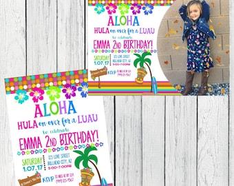 Luau Party - Personalized  birthday invitation- ***Digital File*** (Aloha-2017Wht)