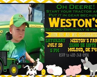 John Deere//Oh Deere Birthday invitation
