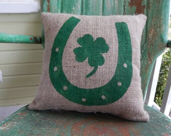 St. Patricks Day Lucky Horseshoe Four Leaf Clover Shamrock Throw Pillow / Burlap Accent Pillow / Spring Decor