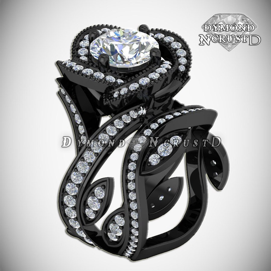 wedding diamonds style blackout rose black media engagement gold bridal or flower ring rings rhodium