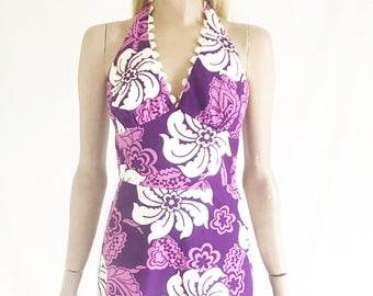 Vintage 60s Tropical Print Maxi Dress. Size X Small