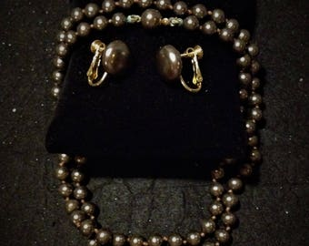Chocolate Pearl Necklace and Earrings