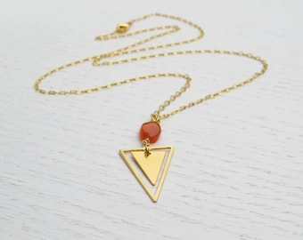 Long gold pendant necklace, Gold triangle necklace, Gold geometric necklace