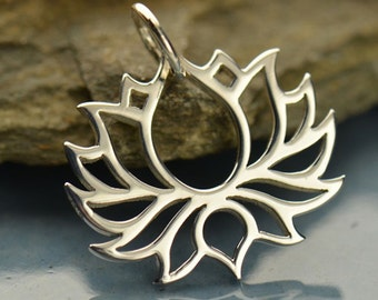Blooming Lotus Pendant Necklace 925 Pure Sterling Silver Yoga Jewellery Spiritual Jewlery