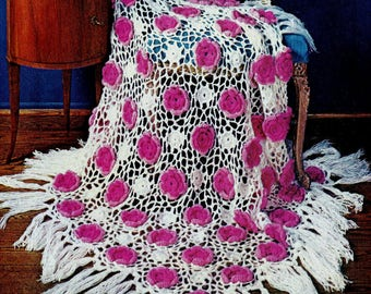 Rose Trellis Afghan Vintage Crochet Pattern Download